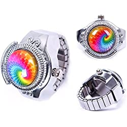 JaneDream 1x Round Lady Steel Rainbow Pattern Elastic Quartz Finger Ring Watch New Gift