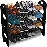Pureus Collapsible Shoe Rack (4 Shelves) Black Colour