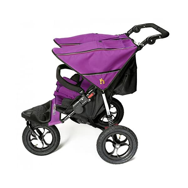 Out 'N' About Nipper Double V4 - Purple Punch Out 'n' About LATEST V4 MODEL Twin independant sun canopy's & peek-a-boo window & auto-locking fold NARROW 72cm WIDTH! All-terrain 3-Wheeler pushchair, suitable for use from Birth to 4 years (approx) Independent Multi-position adjustable backrest, including lie flat with 5-Point Safety Harness 3