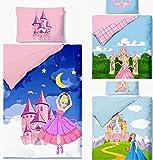 Aminata Kids - Kinderbettwäsche Bettwäsche Kinder Mädchen 100x135 Prinzessin rosa rose Ballerina blau Wendebettwäsche Ballettänzerin mit Schloss Mond und Sternen Mädchen Babybettwäsche Babybett