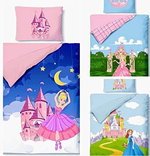 Aminata Kids - süße Kinderbettwäsche Bettwäsche Kinder 100x135 cm Baumwolle Mädchen Prinzessinen Prinzessin Wendebettwäsche Princess Königin mit Krone Herzen Rosen Rose (Tutu Der Königin Herzen)