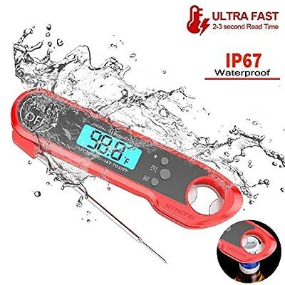 MRang Fleischthermometer, Wasserdichtes IP67-Digital-Instant-Read-Food-Thermometer mit 4,6-Zoll-Sonden-Kalibrierungsfunktion zum Kochen von S¨¹?igkeiten, BBQ-Grill und Rauchern