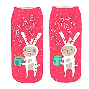 FRAUIT Wintersocken Unisex Christmas Funny 3D Fashion Casual Socken gedruckt Niedliche Low Cut Söckchen Frauen-Mädchen-Socken