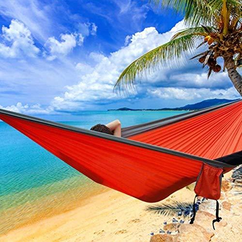 DBSCD Leichte Doppel-Camping-Hängematte, tragbarer Nylon-Fallschirm für Garten-Camping-Reise-Möbelschaukel-Hängematte -