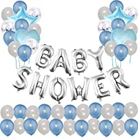 "Toupons Baby Shower Party Decorations Balloons For Boy, Blue ""Baby Shower"" Letter Balloon Banner & 40pcs Latex Balloons & 5pcs Confetti Balloons & 4pcs Star Heart Foil Balloon (Blue)"