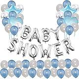 Toupons Baby Shower Party Dekorationen Ballons - Blau Baby Shower Brief Ballon Banner (Blau und Silber)