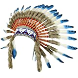 Fair trade Indian chief headdress with blue feathers and black spots