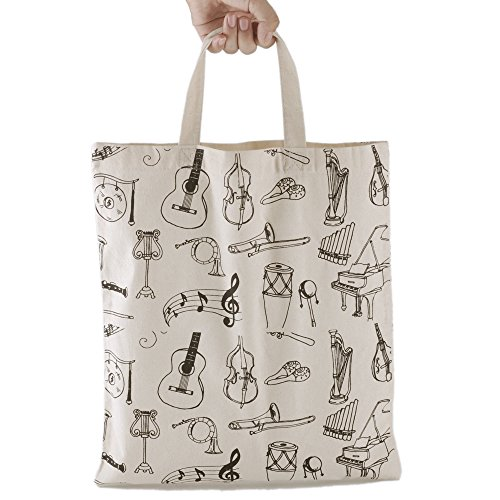 Kingpoint cotone borsetta donne borse della spesa in Muisc Clef tema Patterns High notes e strumenti musicali design Musician and music clefs black Muiscal instruments beige
