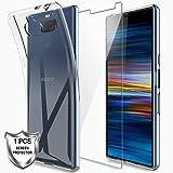 LK Coque pour Sony Xperia 10, Souple Flexible Silicone Gel Housse TPU Case Cover avec Verre Trempé Protection écran[1 Pièces] pour Sony Xperia 10 - Clair