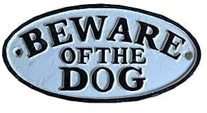 Eisenschild BEWARE OF THE DOG (Vorsicht vor dem Hund) (Warnung vor dem Hunde) (Vorsicht bissiger Hund) ENGLISCH Türschild Gartentürschild Gartentür Gartentor
