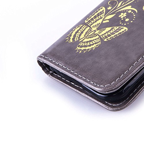 Voguecase® für Apple iPhone 6/6S 4.7 hülle,(Feder/Grau) Kunstleder Tasche PU Schutzhülle Tasche Leder Brieftasche Hülle Case Cover + Gratis Universal Eingabestift Gold Schmetterling/Grau
