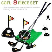 Plástico Clubs juguete juego de Golf Putting green interior juego 8piezas par pelotas de Putter alfombrilla de soporte de, A