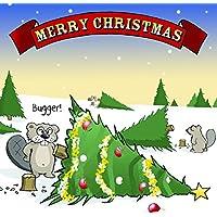 twizler Merry Christmas card con Beaver, Albero di Natale e Bugger–Scheda di buon Natale–Cartolina di Natale di Natale divertente, Pepper–Biglietti di Natale, biglietto di Natale di Natale per uomo, femmina–maschio biglietto di Natale