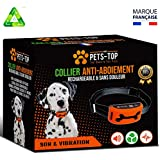 One PETS-TOP Collier Anti Aboiement Chien Rechargeable【Version 2019】 sans Choc | Son & Vibration sans Douleur - Manuel en Français + Aide & SAV en France | Petit & Grand | 3 à 50 Kg | + Ebook Offert