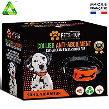 One PETS-TOP Collier Anti Aboiement Chien Rechargeable?Version 2019? sans Choc | Son & Vibration sans Douleur - Manuel en Français + Aide & SAV en France | Petit & Grand | 3 à 50 Kg | + Ebook Offert