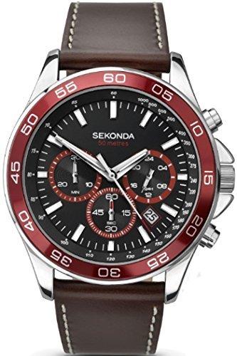 Sekonda 1015 Montre chronographe pour Homme avec Cadran Noir et Bracelet en Cuir Marron