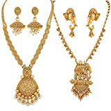 #3: Apara Necklace with Pearl Drop and BahuBali Necklace Earring Combo Jewellery Set for Women