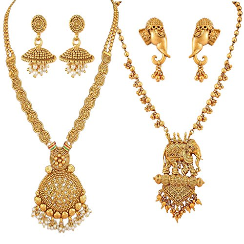 Apara Necklace with Pearl Drop and BahuBali Necklace Earring Combo Jewellery Set for Women