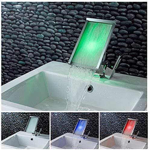 LIZHI Waschbecken Wasserhahn mit 3-Farbwechsel LED-Licht Wasserfall Auslauf, Einhand-Einloch-Kalt- und Warmwassermischer Waschtischarmatur