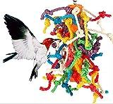Bird Chew Toy, suministros de loro Cuerda de sisal colorida Soporte de juguete Accesorios para jaula de pájaros Cuerda de algodón resistente Bloque colgante Mordida grande Mediana pequeña Soporte de p
