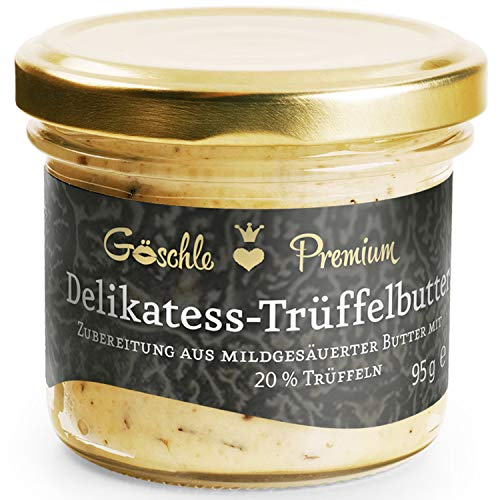 Die Trüffelmanufaktur - Feinkost Trüffelbutter Premium mit 20{0f0e7a32d8c4edbbd2a2c5949b5627099c98a07f12c55b1daaa24d4305cbf97a} echtem frischen schwarzem Trüffel, die Delikatesse für Feinschmecker, weiße Trueffel-Butter im Glas á 95 g - Made in Germany