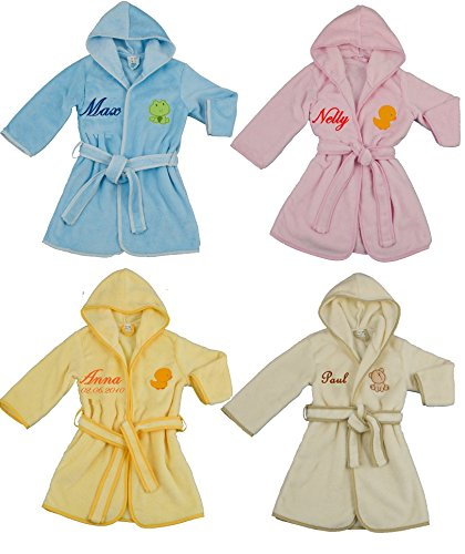 Kuschliger Kinder Bademantel mit Namen bestickt 4 Größen 4 Farben Kinderbademantel