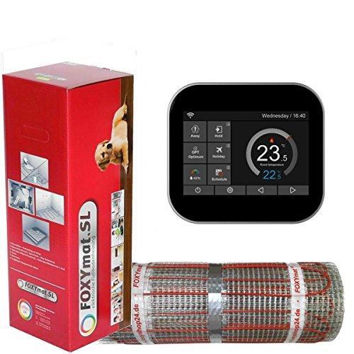 FOXYSHOP24-elektrische Fußbodenheizung PREMIUM MARKE FOXYMAT.SL RAPID (200 Watt pro m²,für die schnelle Erwärmung) mit Thermostat FOXYREG SPS,Komplett-Set, 2.0 m² (0.5m x 4m)