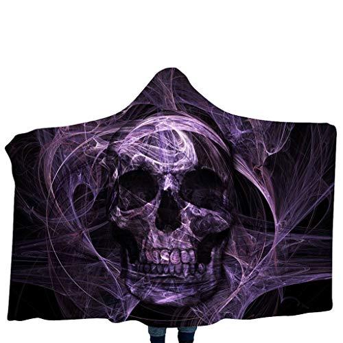 Halloween-Decke mit Kapuze Psychedelic 3D Galaxy Skull Print Sherpa Fleece tragbare Decke Mikrofaser Bettwäsche Couch Kostüm Kinder Mantel Schal Halloween Cosplay Zubehör 39,4 x 55,1 Zoll -