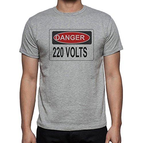 Danger Sign Warning Caution 220 Volts Herren T-Shirt Grau
