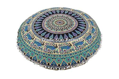 Groß Rund Bodenkissen, Mandala Überwurf Kopfkissen 81,3 cm Dekorative Pouf Polsterhocker, Indische Sitzkissen Outdoor, Cover, Boho Pom Pom kissenrollen