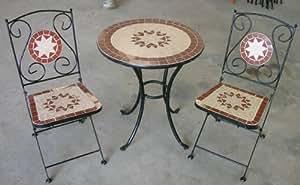 Mosaikmöbelset Mosaik Bistro Set Milano 1 Tisch + 2 Stühle Gartenmöbel preiswert