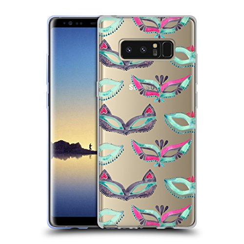 Head Case Designs Offizielle Cat Coquillette Minz Rosa Maske Maskerade Muster 4 Soft Gel Hülle für Samsung Galaxy Note8 / Note ()