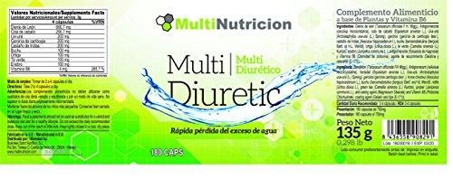 Multi Diuretic mit Vitamin B6–Fettverbrenner–Natürliches Diuretikum–antioxindante Gesundheit des Harnsystem |100% und vegetal| 180Kapseln.