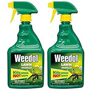 2 x Weedol Lawn Weedkiller, Kills Weeds Not Lawns, 800ml Spray Gun! Ready to Use