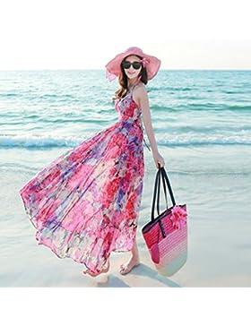 Meng Wei Shop Nueva ropa de mujer de verano Vestido de gasa floral con tira de tirantes Vestido maxi bohemio Vestido...