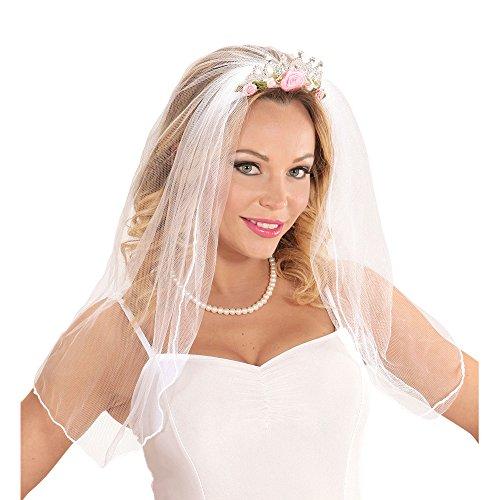 Widmann 07063 - Tiara mit Brautschleier mit Rosen und Diamanten für Erwachsene, Einheitsgröße (Braut Junggesellinnenabschied Kostüm)