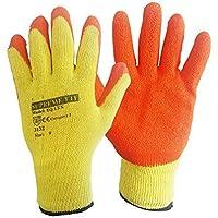 RUFTUF 24 Pairs Latex Coated Orange Rubber Work Gloves Mens Safety Builders Gardening (Medium) M (Pack of 48)