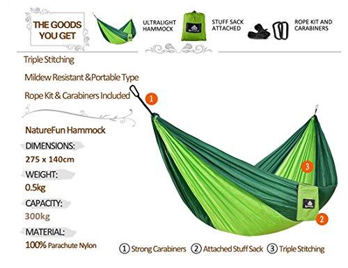 NatureFun Ultraleichte Camping Hängematte / 300kg Tragfähigkeit, (300 x 140 cm) Atmungsaktiv, schnell trocknende Fallschirm Nylon - 2