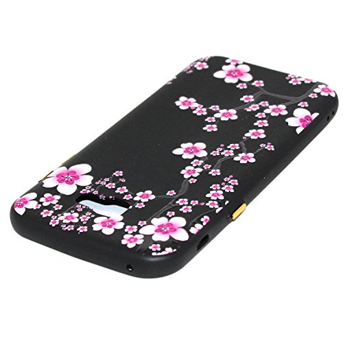 Linvei Samsung Galaxy A5(2017) Etui Cuir Coque,[Conception de motif coloré][PU Cuir Housse][Portefeuille Flip][Stand soutien/Card Slot /fermeture magnétique]-Plante tropicale verte Conception de fleurs de prunier