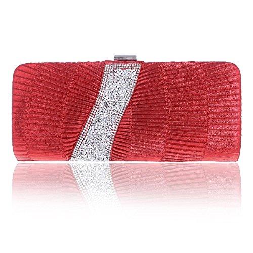 Damara® Damen Glanz Pailletten Strass Abendtasche Mit Falten Rot
