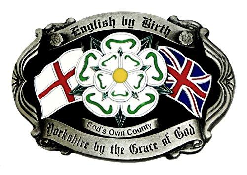 Yorkshire Gürtelschnalle - Englisch von Geburt - Yorkshire durch die Gnade Gottes - Anschluß Markierungsfahne & Kreuz von St. George Patriot Authentischen Dragon Designs Markenprodukt -