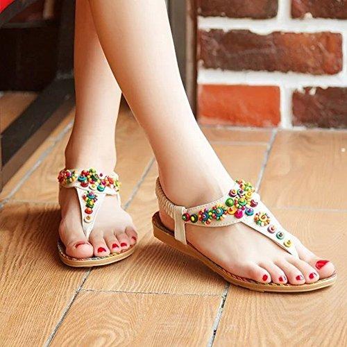 Ytty sandali con perline di bohemian beaded sandali etnici flat flat sandali, pelle di bufalo, 42