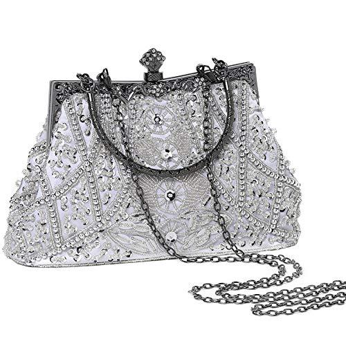 Coucoland Perlen Clutch Damen 1920s Handtasche Abend Party Geldbeutel Elegante Abschlussball Handtaschen Hochzeit Braut Zubehör (Weiß) (Satin Weiße Handtasche Blume)