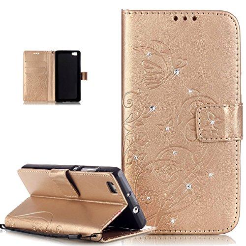 ikasus Compatible avec Coque Huawei P8 Lite,Bling Sparkle Diamant Motif Embosser Fleur Vines Papillons Housse Cuir PU Housse Portefeuille Flip Case Etui Housse Coque pour Huawei P8 Lite,D'or
