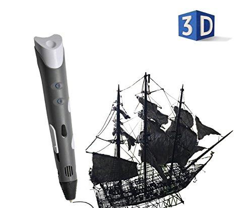HDCM 3D Drucker Stift, 3D Druckstift mit 1.75 mm PLA Filament für Kinder Erwachsene Kritzelei Zeichnung und Kunst & handgefertigte Werke , grey