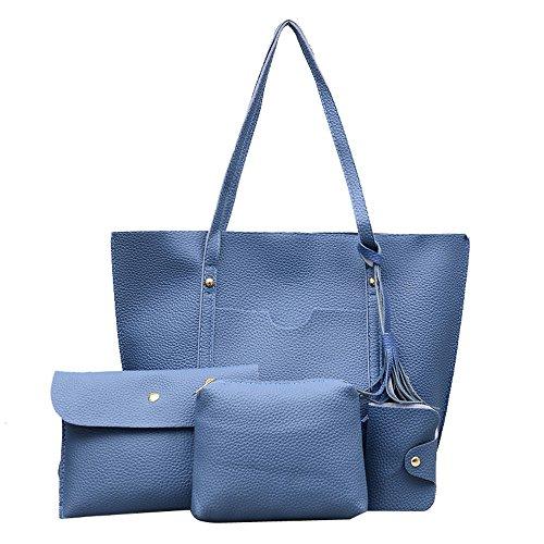 TianWlio Frauen Handtasche 4pcs Quaste Lederhandtasche + Umhängetasche + Umhängetasche + Kartenpaket Blau
