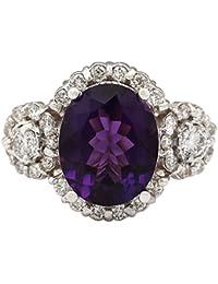 4.42Ct naturales amatista 14K oro blanco anillo de diamantes
