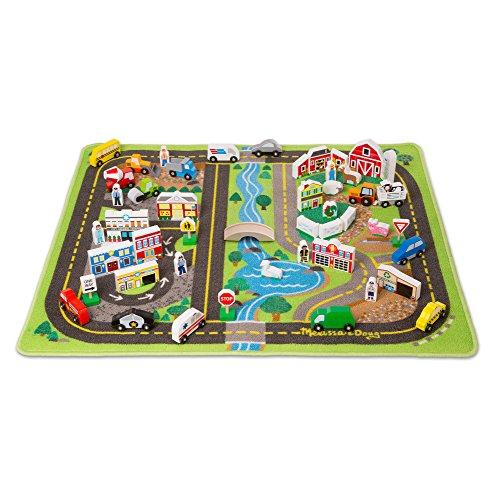 Melissa & Doug Deluxe Spielteppich - Spielzeugset mit Straßen, Fahrzeugen und Spielzeugteilen aus Holz (49 Teile) -