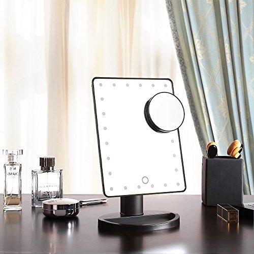 MVPOWER Espejo Cosmético de Maquillaje con Pantalla Táctil con Luz LED  24 LEDs Brillantes 360°de Rotación para La Mesa  Baño  Viajes  Afeitado