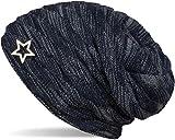 styleBREAKER warme Feinstrick Beanie Mütze mit Wellen Muster und Schmuck Stern, sehr weiches Fleece Innenfutter, Unisex 04024099, Farbe:Dunkelblau-Grau